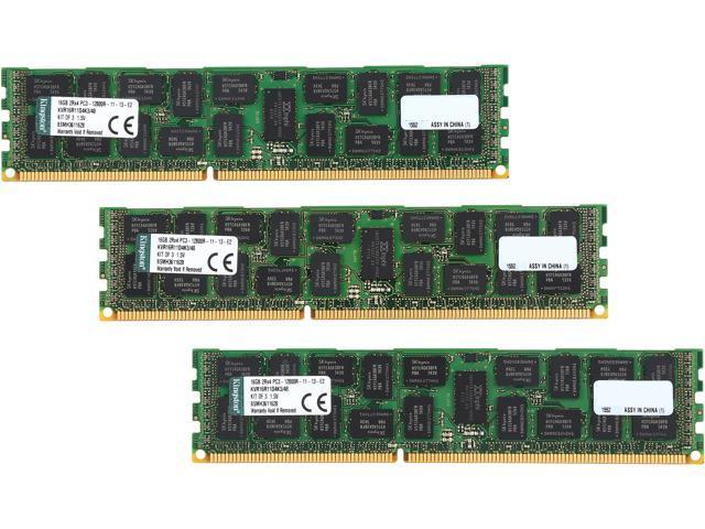Kingston ValueRAM 48GB (3 x 16GB) 240-Pin DDR3 SDRAM ECC Registered DDR3 1600 Server Memory Model KVR16R11D4K3/48