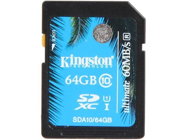 Kingston 64GB Secure Digital Extended Capacity (SDXC) Ultimate Flash Card Model SDA10/64GB
