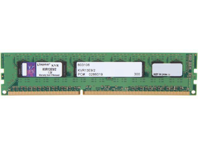 Kingston 2GB 240-Pin DDR3 SDRAM ECC DDR3 1333 (PC3 10600) Server Memory Model KVR13E9/2