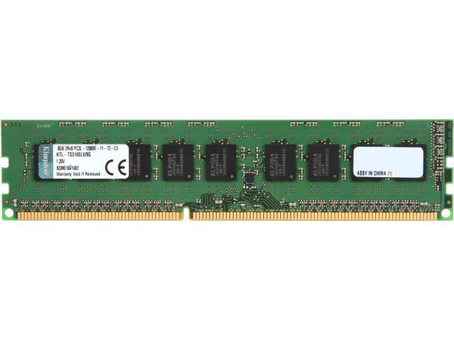 Kingston 8GB 240-Pin DDR3 SDRAM ECC DDR3 1600 (PC3 12800) Low Voltage Server Memory Model KTL-TS316ELV/8G