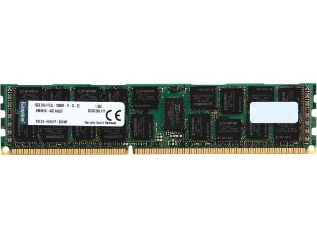 Kingston 16GB 240-Pin DDR3 SDRAM ECC Registered DDR3 1600 (PC3 12800) Low Voltage Server Memory Model D2G72KL111