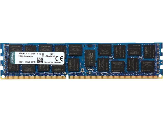 Kingston 16GB 240-Pin DDR3 SDRAM ECC Registered DDR3 1600 (PC3 12800) Low Voltage Server Memory Model KTL-TS316LV/16G