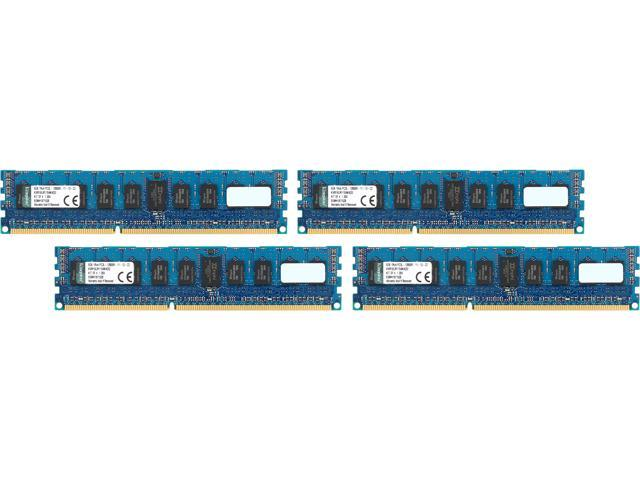 Kingston 32GB (4 x 8GB) 240-Pin DDR3 SDRAM ECC Registered DDR3 1600 (PC3 12800) Server Memory Model KVR16LR11S4K4/32