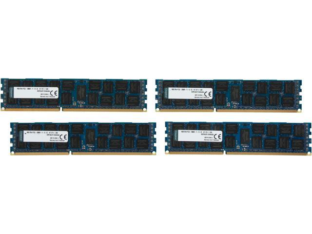 Kingston 64GB (4 x 16GB) 240-Pin DDR3 SDRAM ECC Registered DDR3 1600 (PC3 12800) Server Memory Model KVR16LR11D4K4/64
