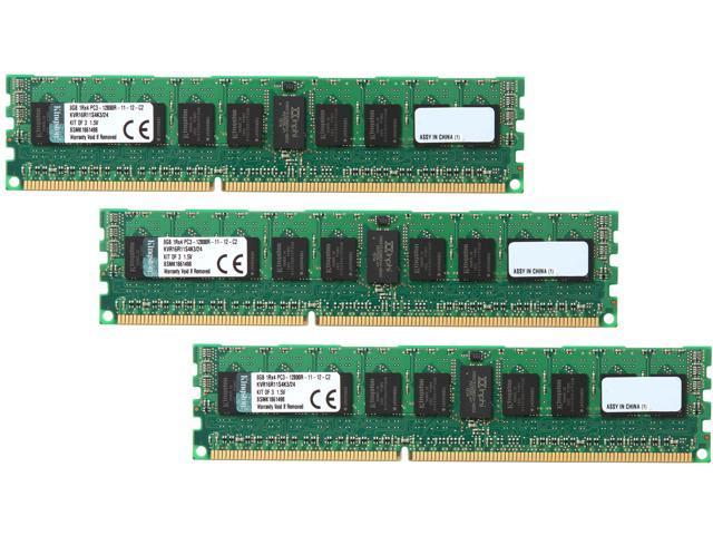 Kingston ValueRAM 24GB (3 x 8GB) 240-Pin DDR3 SDRAM ECC Registered DDR3 1600 (PC3 12800) Server Memory Model KVR16R11S4K3/24