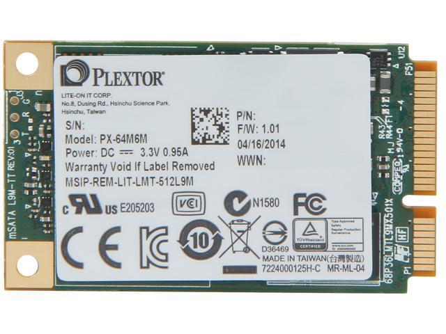 Plextor M6M Mini-SATA(mSATA) 64GB SATA 6Gb/s Internal Solid State Drive (SSD) PX-64M6M