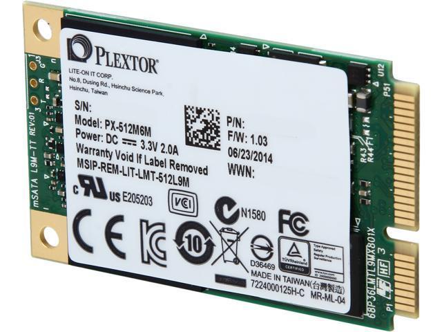 Plextor M6M Mini-SATA(mSATA) 512GB SATA 6Gb/s Internal Solid State Drive (SSD) PX-512M6M