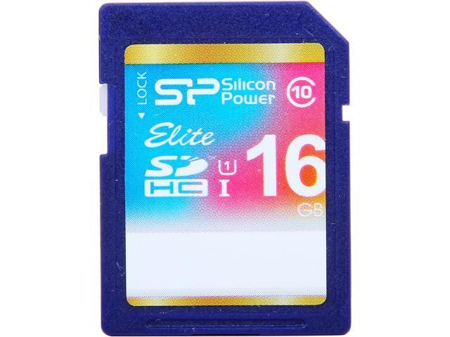 Silicon Power Elite 16GB Secure Digital High-Capacity (SDHC) Flash Card Model SP016GBSDHAU1V10