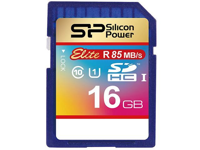 Silicon Power 16GB up to 85MB/s SDHC UHS-1 Class10, Elite Flash Memory Card with Adaptor