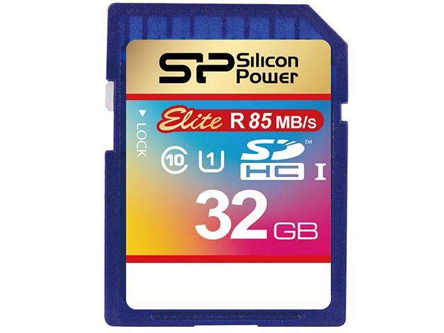 Silicon Power 32GB up to 85MB/s SDHC UHS-1 Class10, Elite Flash Memory Card with Adaptor