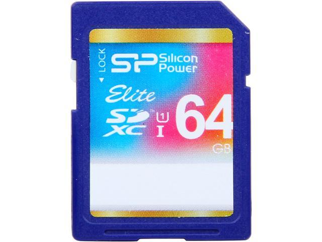 Silicon Power Elite 64GB Secure Digital Extended Capacity (SDXC) Flash Card Model SP064GBSDXAU1V10