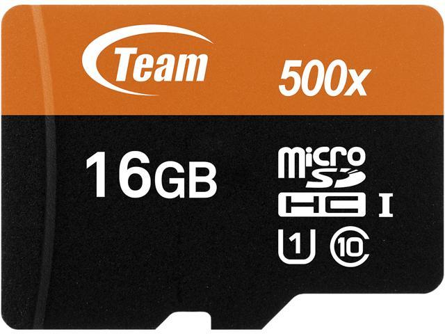 Team 16GB microSDHC UHS-I/U1 Class 10 Memory Card with Adapter, Speed Up to 80MB/s (TUSDH16GUHS03)
