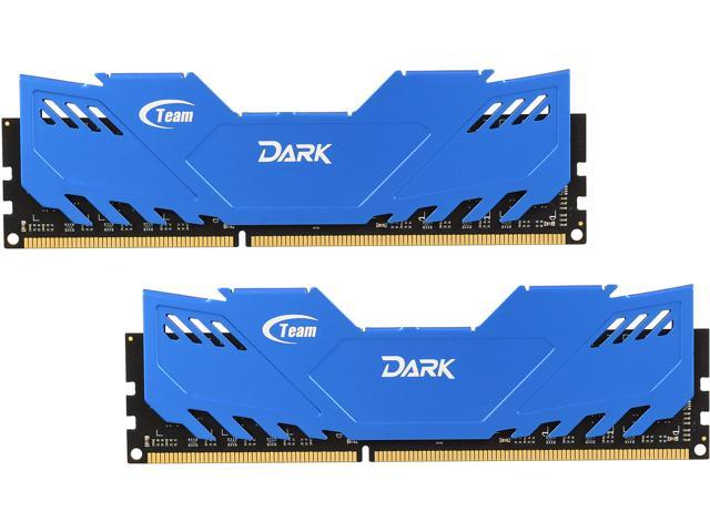 Team Dark Series 8GB (2 x 4GB) 240-Pin DDR3 SDRAM DDR3 1600 (PC3 12800) Desktop Memory (Blue Heat Spreader) Model TDBD38G1600HC9DC01