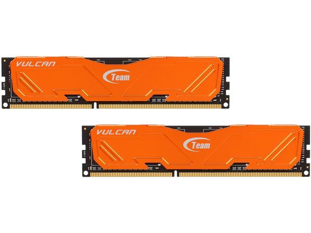 Team Vulcan 16GB (2 x 8GB) 240-Pin DDR3 SDRAM DDR3 1600 (PC3 12800) Desktop Memory (Orange Heat Spreader) Model TLAD316G1600HC10ADC01