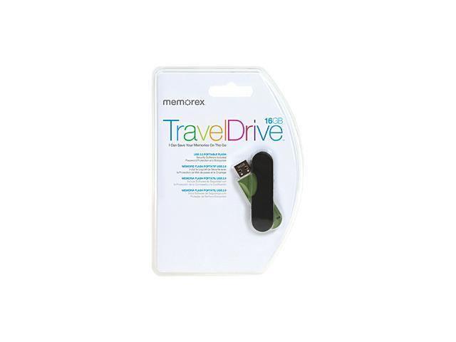 Memorex TravelDrive 16 GB USB 2.0 Flash Drive - Green, Black