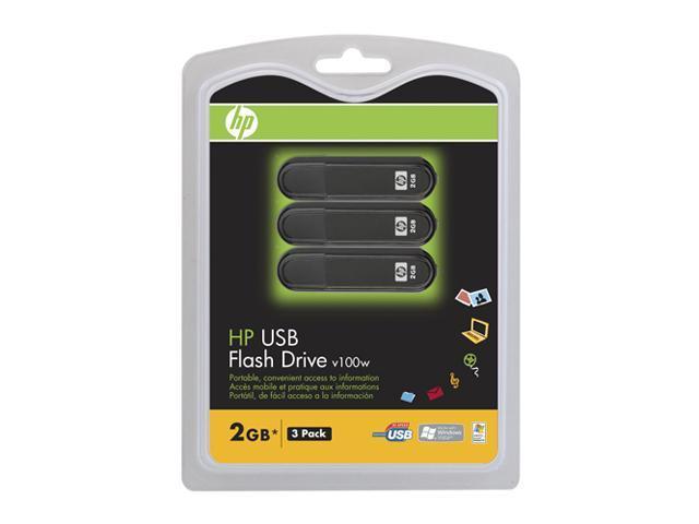 HP 2GB USB2.0  Flash Drive 3 Pack Model P-FD2GBX3-HPV100W-FS