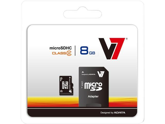 V7 8GB microSDHC Flash Card Model VAMSDH8GCL4R-1N