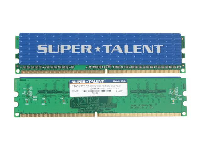 SUPER TALENT 2GB (2 x 1GB) 240-Pin DDR2 SDRAM DDR2 800 (PC2 6400) Dual Channel Kit Desktop Memory Model T800UX2GC5