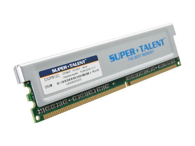 SUPER TALENT 512MB 184-Pin DDR SDRAM DDR 400 (PC 3200) Desktop Memory Model D32PB12C