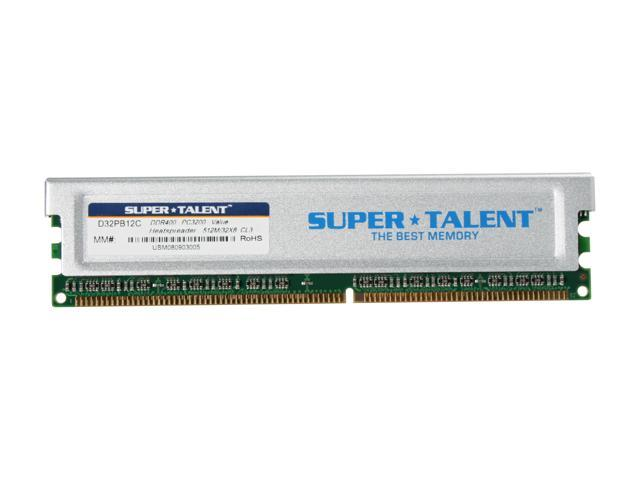 SUPER TALENT 512MB 184-Pin DDR SDRAM DDR 400 (PC 3200) Desktop Memory Model D32PB12C