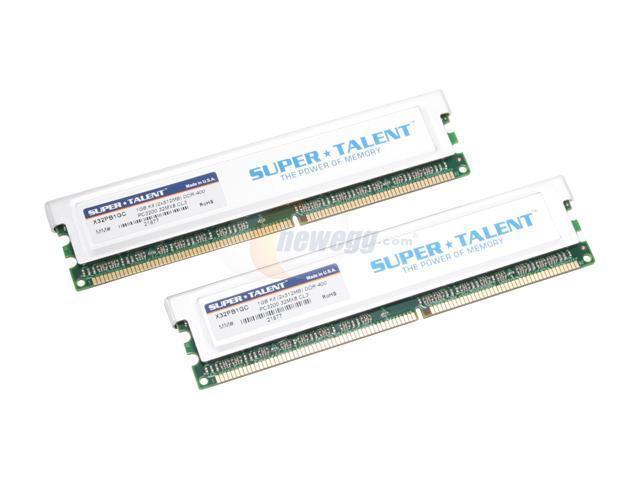 SUPER TALENT 1GB (2 x 512MB) 184-Pin DDR SDRAM DDR 400 (PC 3200) Dual Channel Kit Desktop Memory Model X32PB1GC