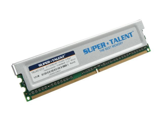 SUPER TALENT 512MB 240-Pin DDR2 SDRAM DDR2 667 (PC2 5300) Desktop Memory Model T6UA512C5