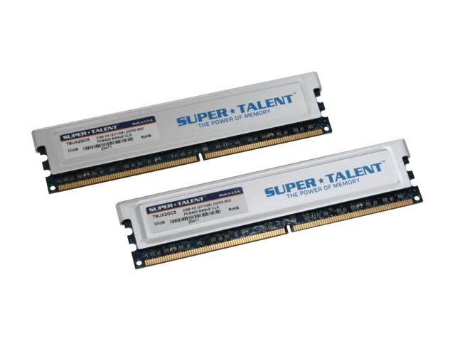 SUPER TALENT 2GB (2 x 1GB) 240-Pin DDR2 SDRAM DDR2 800 (PC2 6400) Dual Channel Kit Desktop Memory Model T8UX2GC5