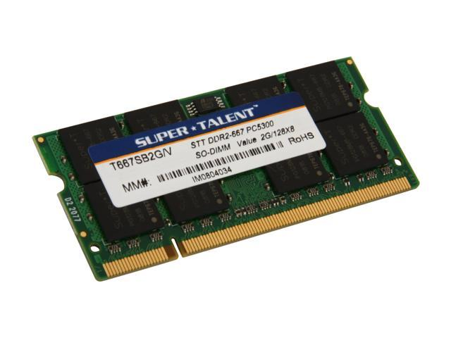 SUPER TALENT 2GB 200-Pin DDR2 SO-DIMM DDR2 667 (PC2 5300) Laptop Memory Model T667SB2G/V