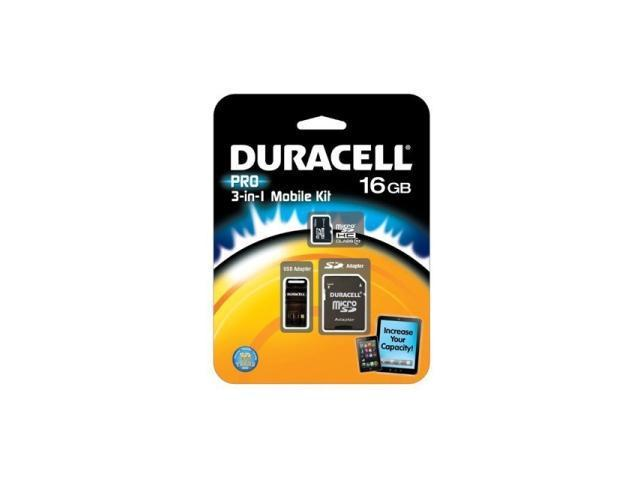 Duracell 16GB microSDHC Flash Card Model DU-3IN1C1016G-R