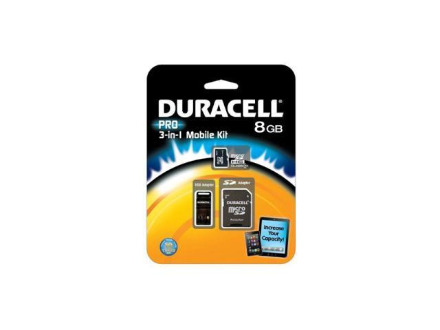 Duracell 8GB microSDHC Flash Card Model DU-3IN1C1008G-R