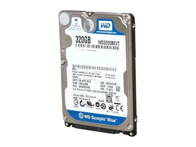 Western Digital Scorpio Blue WD3200BEVT 320GB 5400 RPM 8MB Cache SATA 3.0Gb/s 2.5