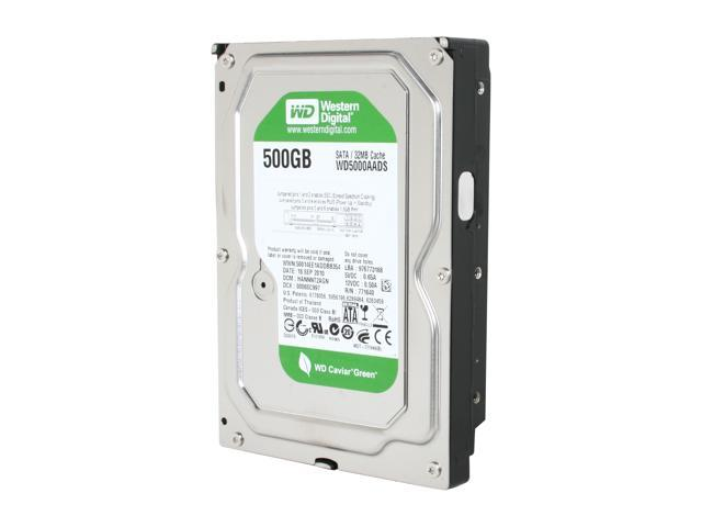 "Western Digital WD Green WD5000AADS 500GB 32MB Cache SATA 3.0Gb/s 3.5"" Hard Drive Bare Drive"