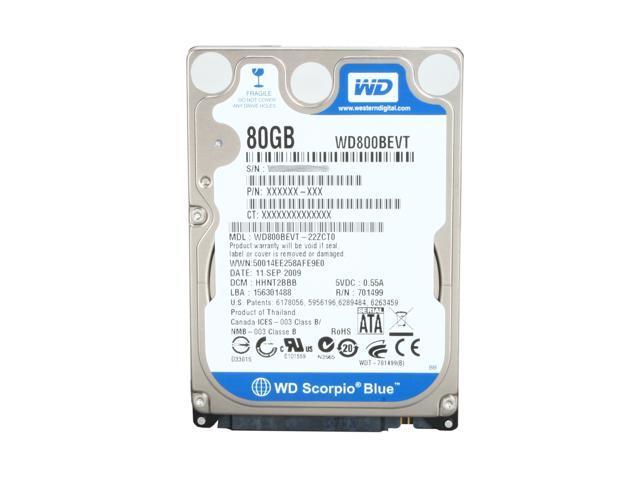 "Western Digital Scorpio Blue WD800BEVT 80GB 5400 RPM 8MB Cache SATA 3.0Gb/s 2.5"" Internal Notebook Hard Drive Bare Drive"
