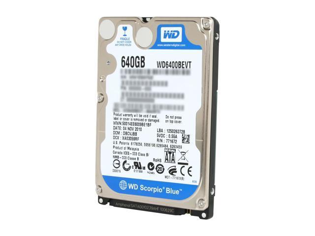 "Western Digital Scorpio Blue WD6400BEVT 640GB 5400 RPM 8MB Cache SATA 3.0Gb/s 2.5"" Internal Notebook Hard Drive Bare Drive"