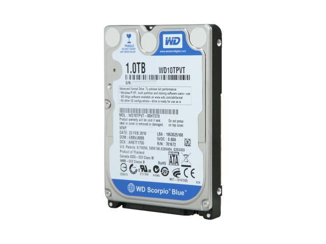 Western Digital Scorpio Blue WD10TPVT 1TB 5200 RPM 8MB Cache SATA 3.0Gb/s 2.5