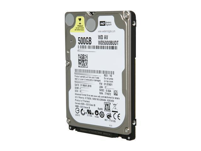 "Western Digital WD AV-25 WD5000BUDT 500GB 5400 RPM 32MB Cache SATA 3.0Gb/s 2.5"" Internal AV Hard Drive"