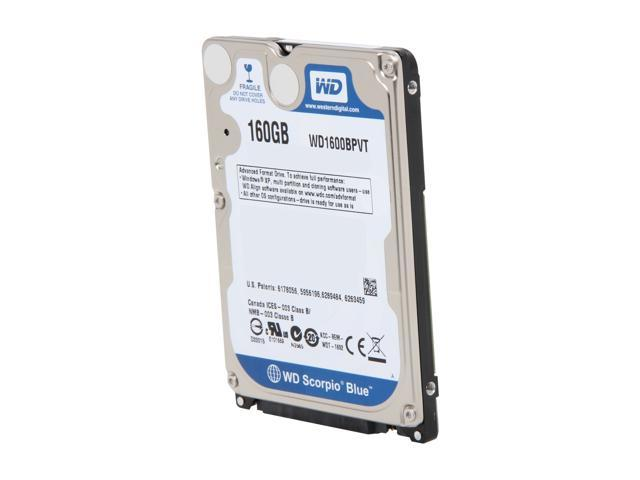 "Western Digital Scorpio Blue WD1600BPVT 160GB 5400 RPM 8MB Cache SATA 3.0Gb/s 2.5"" Internal Notebook Hard Drive Bare Drive"