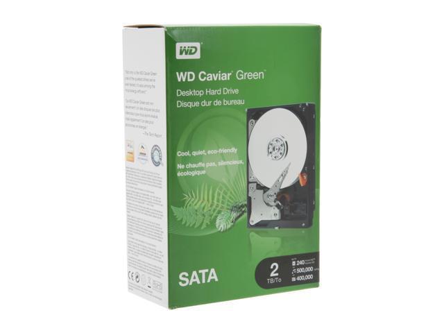 """WD WD Green WDBAAY0020HNC-NRSN 2TB 64MB Cache SATA 6.0Gb/s 3.5"""" Internal Hard Drive Retail kit"""