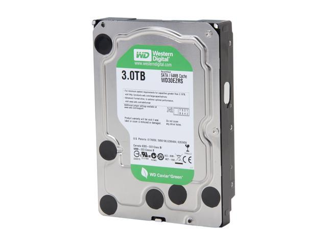"Western Digital WD Green WD30EZRS 3TB 64MB Cache SATA 3.0Gb/s 3.5"" Internal Hard Drive Bare Drive"