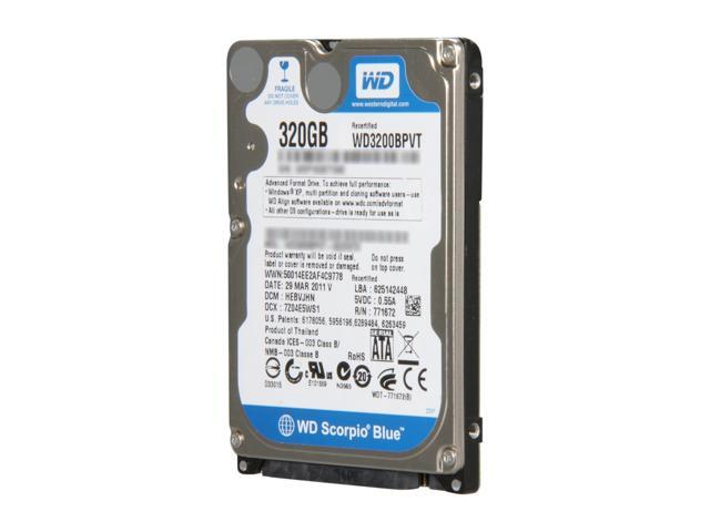 Western Digital Scorpio Blue RFHWD3200BPVT 320GB 5400 RPM 8MB Cache SATA 3.0Gb/s 2.5