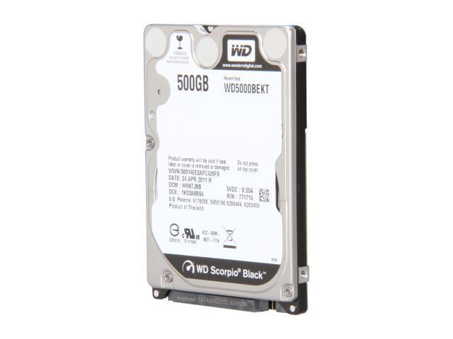 """WD WD5000BEKT/R 500GB 7200 RPM 16MB Cache SATA 3.0Gb/s 2.5"""" Internal Notebook Hard Drive"""