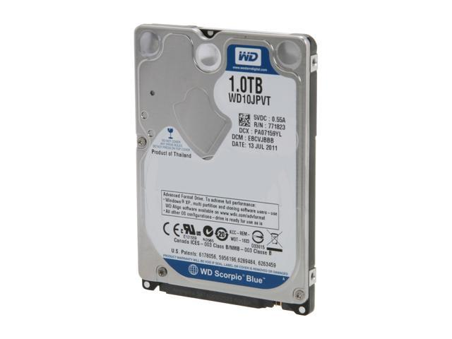 "Western Digital Scorpio Blue WD10JPVT 1TB 5400 RPM 8MB Cache SATA 3.0Gb/s 2.5"" Internal Notebook Hard Drive Bare Drive"