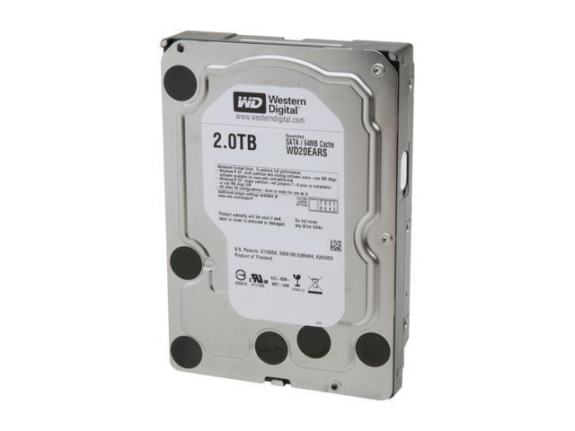 """WD WD Green WD20EARS-FR 2TB IntelliPower 64MB Cache SATA 3.0Gb/s 3.5"""" Internal Hard Drive"""