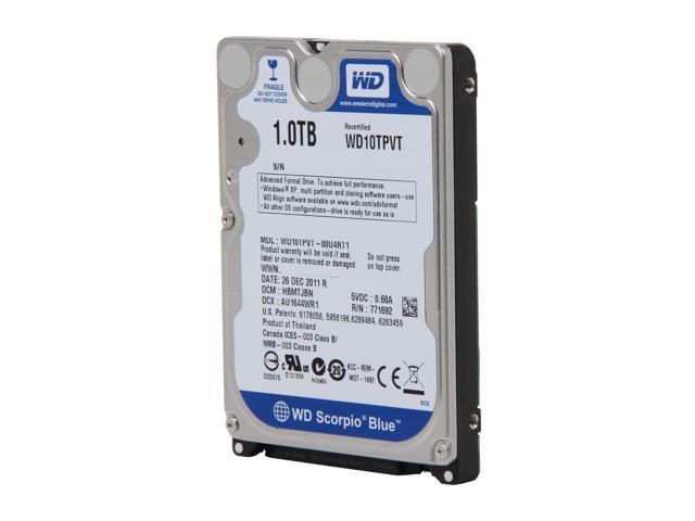 "WD Scorpio Blue WD10TPVT 1TB 5200 RPM 8MB Cache SATA 3.0Gb/s 2.5"" Internal Hard Drive Bare Drive"