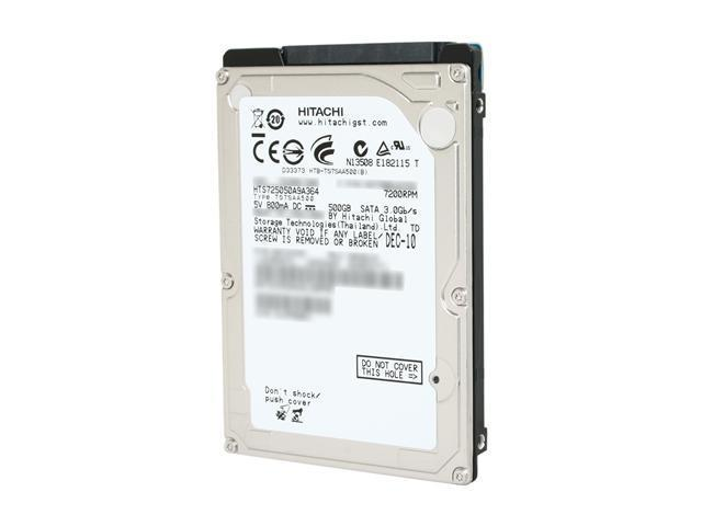 "Hitachi GST Travelstar 7K500 HTS725050A9A364 (0A72335) 500GB 7200 RPM 16MB Cache SATA 3.0Gb/s 2.5"" Internal Notebook Hard ..."