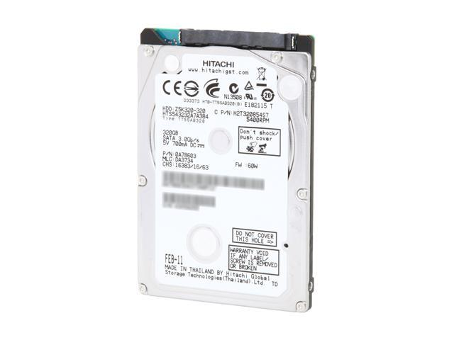 "HGST Travelstar Z5K320 HTS543232A7A384 (Part#: 0A78603) 320GB 5400 RPM 8MB Cache SATA 3.0Gb/s 2.5"" Internal Notebook Hard ..."