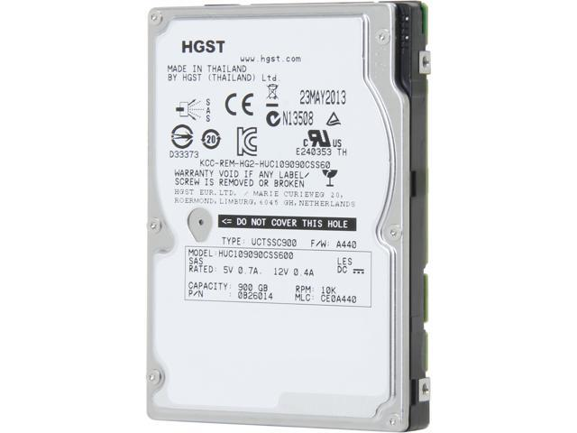 "HGST Ultrastar C10K900 HUC109090CSS600 (0B26014) 900GB 10000 RPM 64MB Cache SAS 6Gb/s 2.5"" Internal Enterprise Hard Drive ..."
