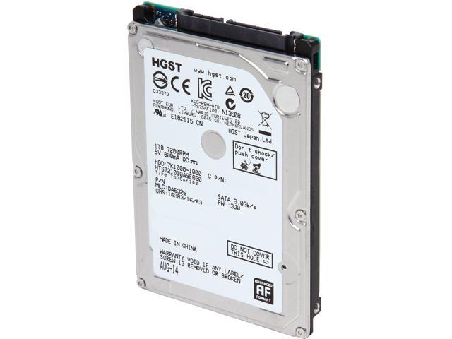 "HGST Travelstar 7K1000 HTS721010A9E630 (0J22423) 1TB 7200 RPM 32MB Cache SATA 6.0Gb/s 2.5"" Internal Notebook Hard Drive (Standard model) Bare Drive"