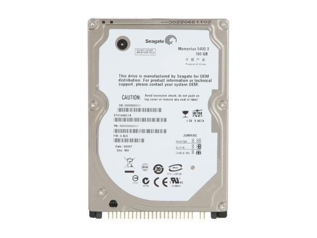 "Seagate Momentus 5400.3 ST9160821A 160GB 5400 RPM 8MB Cache 2.5"" IDE Ultra ATA100 / ATA-6 Internal Notebook Hard Drive -Bare Drive"