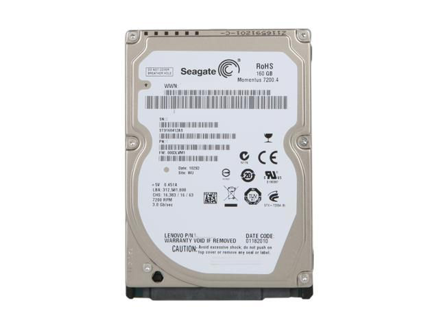 Seagate Momentus 7200.4 ST9160412AS 160GB 7200 RPM 16MB Cache SATA 3.0Gb/s 2.5